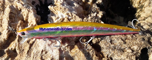 slim minnow hunter candy 140, lure made in Japan, by DUO for spinning