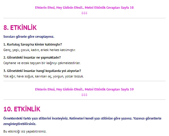 Efelerin Efesi Hey Gidinin Efesi Metni Cevapları 4. Sınıf Türkçe Sayfa 58-59