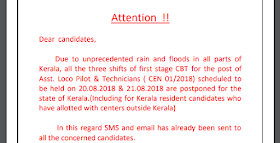 RRB ALP 2018 scheduled to be held on 20.08.2018 & 21.08.2018 are Postponed for the state of Kerala