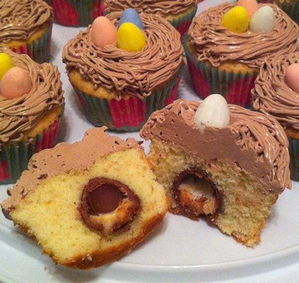Easter Cupcakes Baked w/ Mini Cadbury Eggs Inside