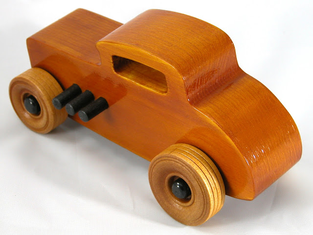 Top Left Rear - Wood Toy Cars - Wooden Cars - Wood Toys - Wooden Car - Wood Toy Car - Hot Rod - 1932 Ford - 32 Deuce Coupe - Little Deuce Coupe - Roadster - Race Car