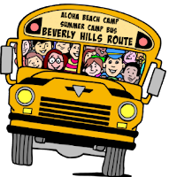 Yellow Aloha Beach Camp school bus filled with happy campers and staff on its way to Aloha Beach Camp for a fun-filled day of camp.