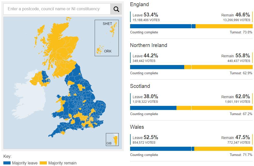 Mapa de circunscripciones en el referéndum sobre el Brexit