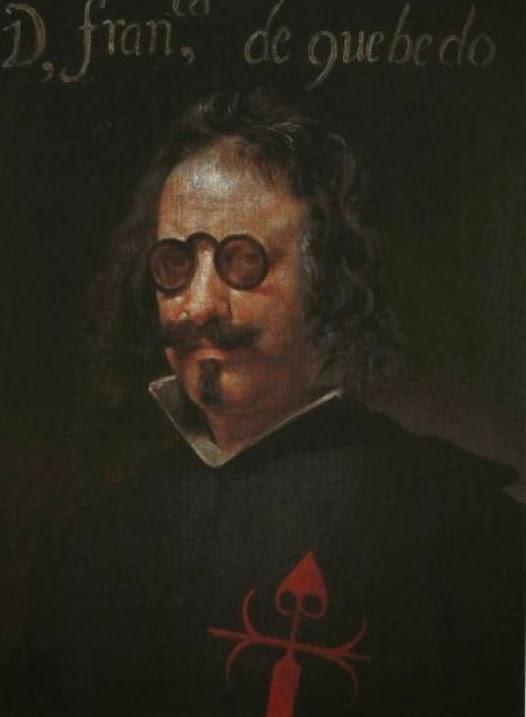 Retrato de Quevedo, con bigote, perilla y sus famosos anteojos redondos. En el pecho de su indumentaria negra luce la cruz roja de los caballeros de la Orden de Santiago