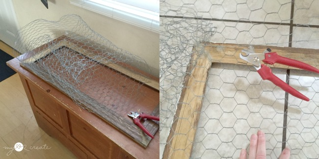 adding chicken wire to frame