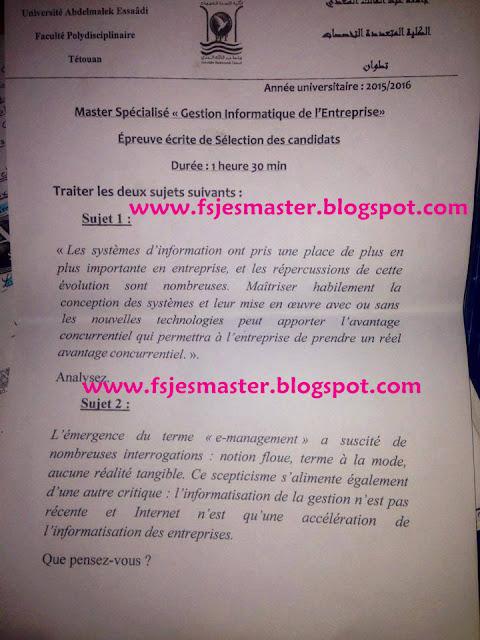 Master Gestion Informatique de l'Entreprise 2015-2016
