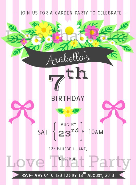 flower invitation floral modern pink stripes banners charcoal ribbons and bows personalised girls birthday