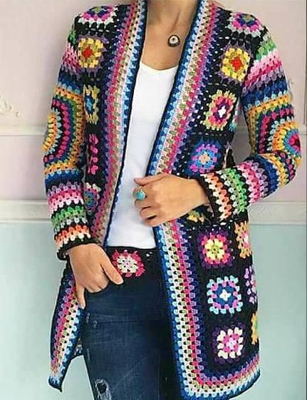 sweter z kwadratów szydełkowy