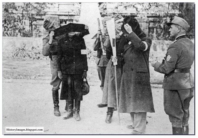 September 7 1944 Representatives  Polish Red Cross arrive blindfolded to meet German military policemen  negotiate safe passage civilians Warsaw Uprising 1944