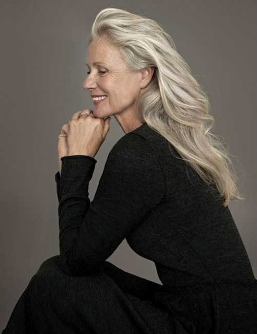 image result for gorgeous grey hair midlife woman smiling