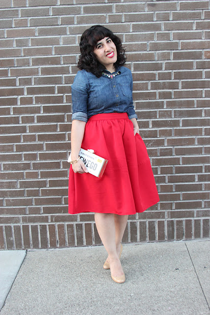Denim Button Down Shirt and Express Red Midi Skirt Outfit