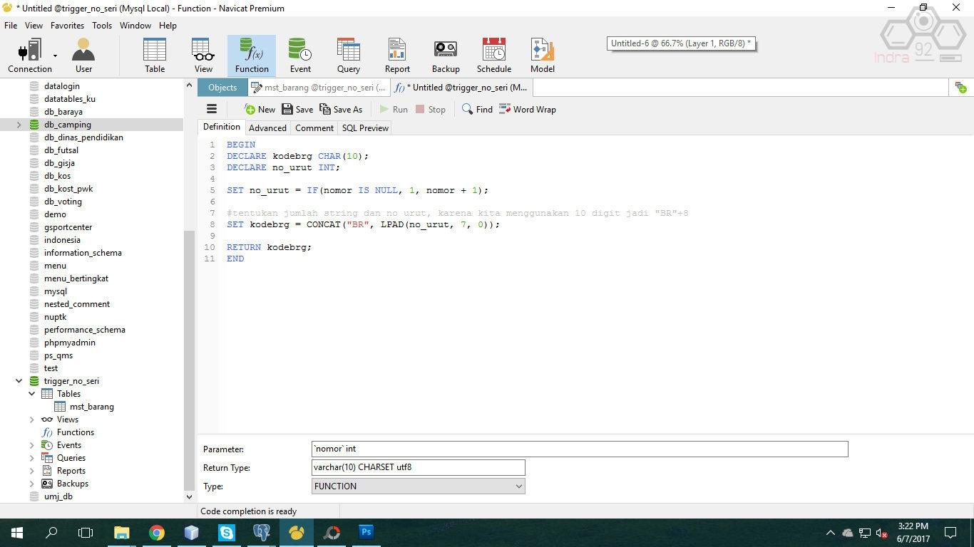 Membuat Kode Barang Otomatis dengan Trigger dan Function di MySQL - indra92