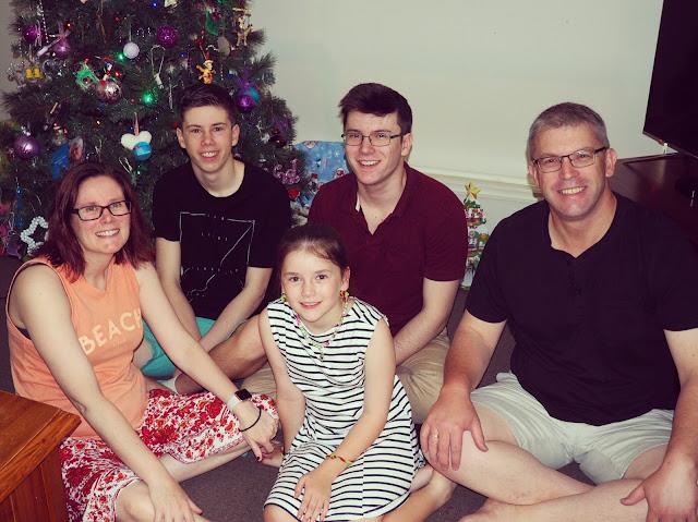Yeo family photo, Christmas morning 2018