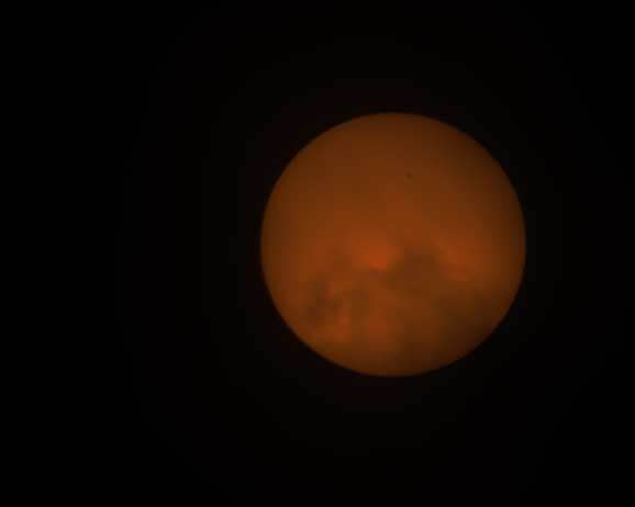 First 600mm telephoto image of moon through clouds (Source: Palmia Observatory)