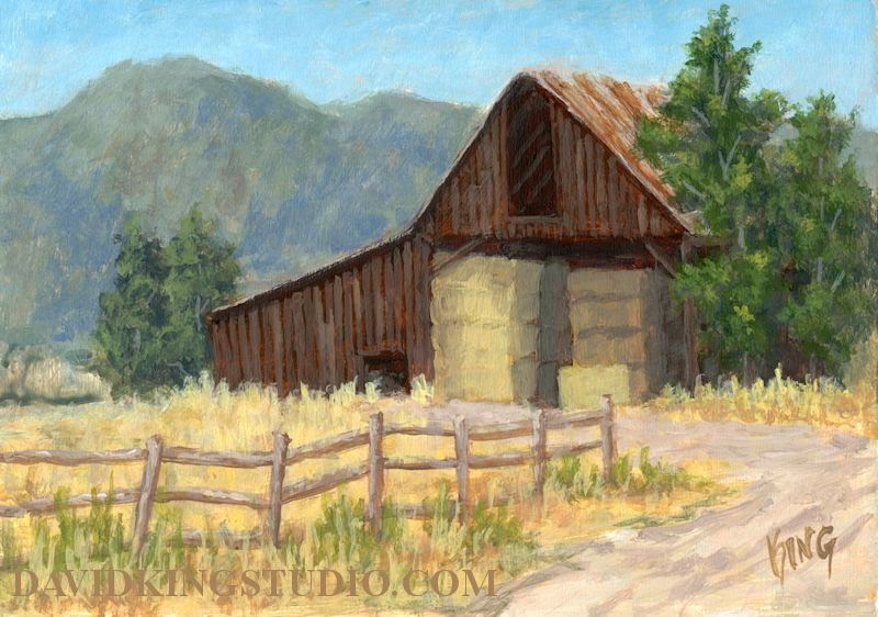 art painting acrylic landscape rural barn hay farm