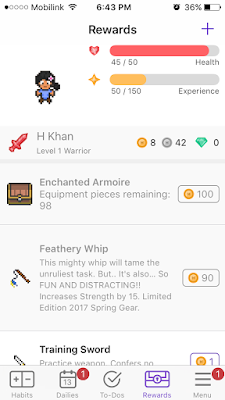 habitica rewards screenshot review blogger