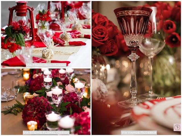centro de mesa vermelho