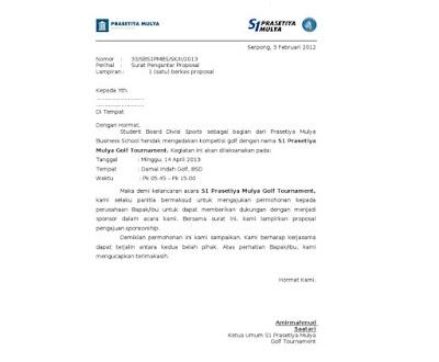 Contoh Surat Pengantar Sponsorship