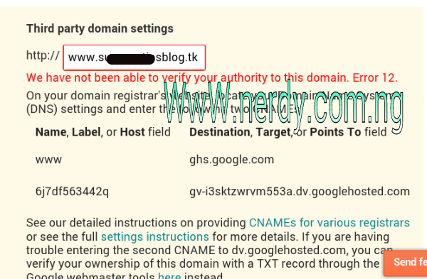 Blogger Domain Error message