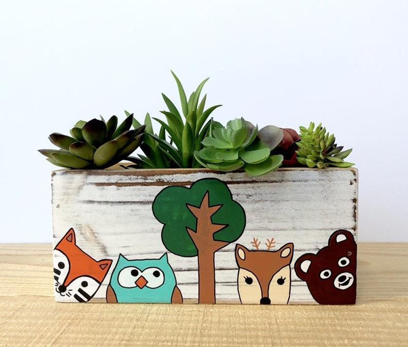 Lea Joelle Handmade Woodland Animals Planter