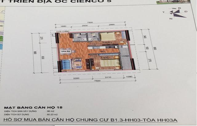 Sơ đồ thiết kế căn hộ 18 chung cư B1.3 HH03A Thanh Hà Cienco 5
