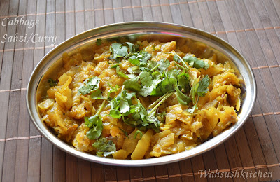 Cabbage sabzi or cabbage curry