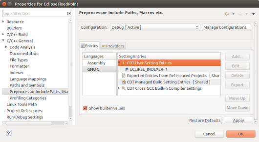 Working with C's new fixed point datatypes in Eclipse CDT