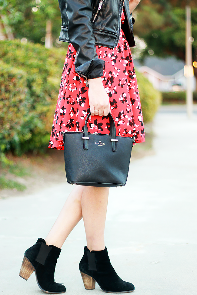Banana Republic red tie-neck dress, Sole Society Lylee Booties