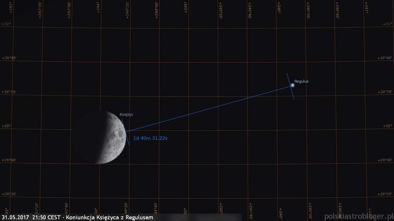 31.05.2017  2150 CEST - Koniunkcja Księżyca z Regulusem