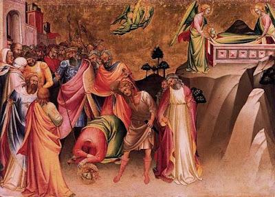 Ο αποκεφαλισμός της αγίας και η μεταφορά του σώματός της στο Σινά   (πίνακας του Lorenzo Monaco, 1370-1425)