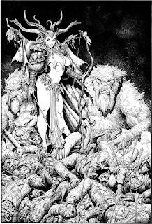 """Et voici le dernier numéro de l'année pour """"The Art of"""", et pour finir en beauté nous vous présentons Arthur Adams.  Arthur """"Art"""" Adams, né le 5 avril en 1963 à Holyoke, Massachusetts, est un scénariste et dessinateur américain de comics.  Artiste autodidacte, Adams voulait travailler dans les comics depuis son enfance. Il devint connu quand il dessina la mini-série acclamée par la critique Longshot, écrite par Ann Nocenti et publiée en 1985 par Marvel Comics. Le style très reconnaissable et détaillé d'Adams lui conféra un très grande popularité, et il trouva facilement du travail dans cette branche. Cependant son travail extrêmement détaillé, bien que populaire, avait pour contrepartie d'être lent à produire, ce qui l'a empêché de travailler sur une série régulière pendant une longue période.  Il est aussi connu pour Art Adams' Creature Features, une collection d'histoires déjà publiées rendant hommage à plusieurs monstres de film de Série B, et sa série en creator-owned  Monkeyman and O'Brien, tous deux publiés par Dark Horse Comics. Adams est le cocréateur, avec le scénariste Alan Moore, de Jonni Future, un personnage de Tom Strong's Terrific Tales. Adams est aussi un dessinateur de couvertures très apprécié, et est l'auteur d'images de nombreuses trading cards, posters, et autres produits du même type.  Alors maintenant asseyez vous confortablement et profiter de """"The Art of Arthur Adams""""!!!!!!!!!!!"""