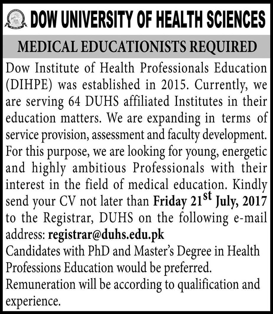 Jobs in Dow University Of Health Sciences Karachi July 2017
