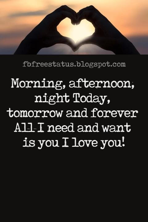 Love Text Messages, Morning, afternoon, night Today, tomorrow and forever All I need and want is you I love you!