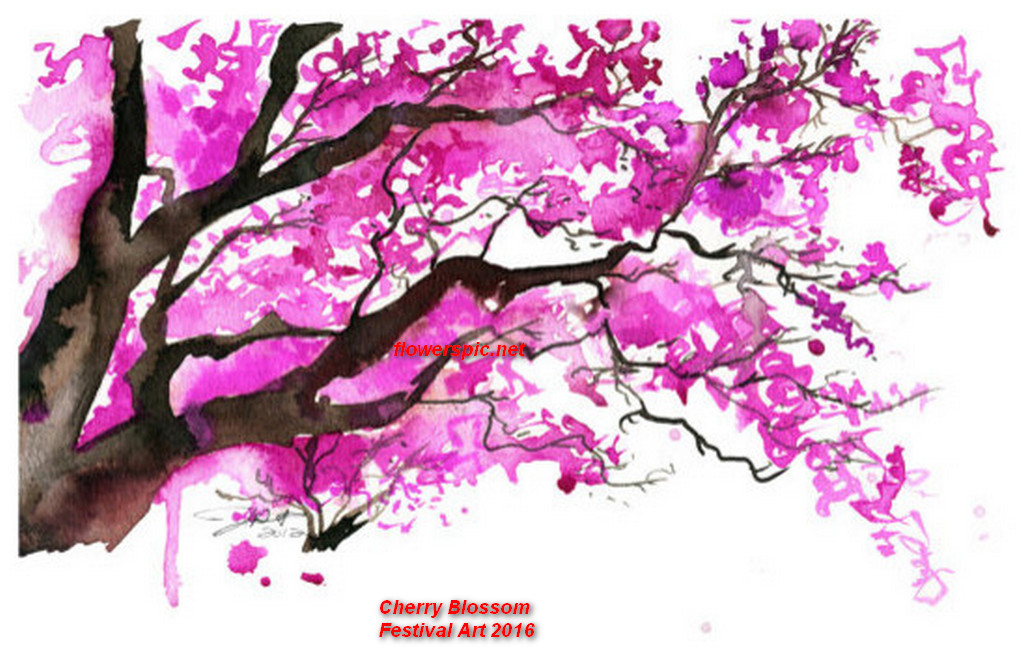 Japanese-Art-Cherry-Blossom-Landscape, traditional japanese nature ...