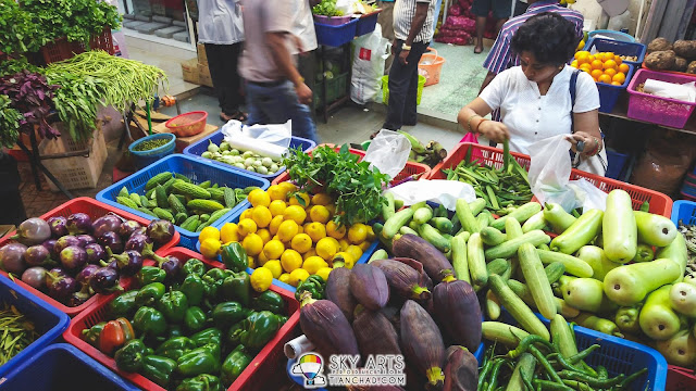 Variety of vegetables and fruits found at Little India Brickfields KL