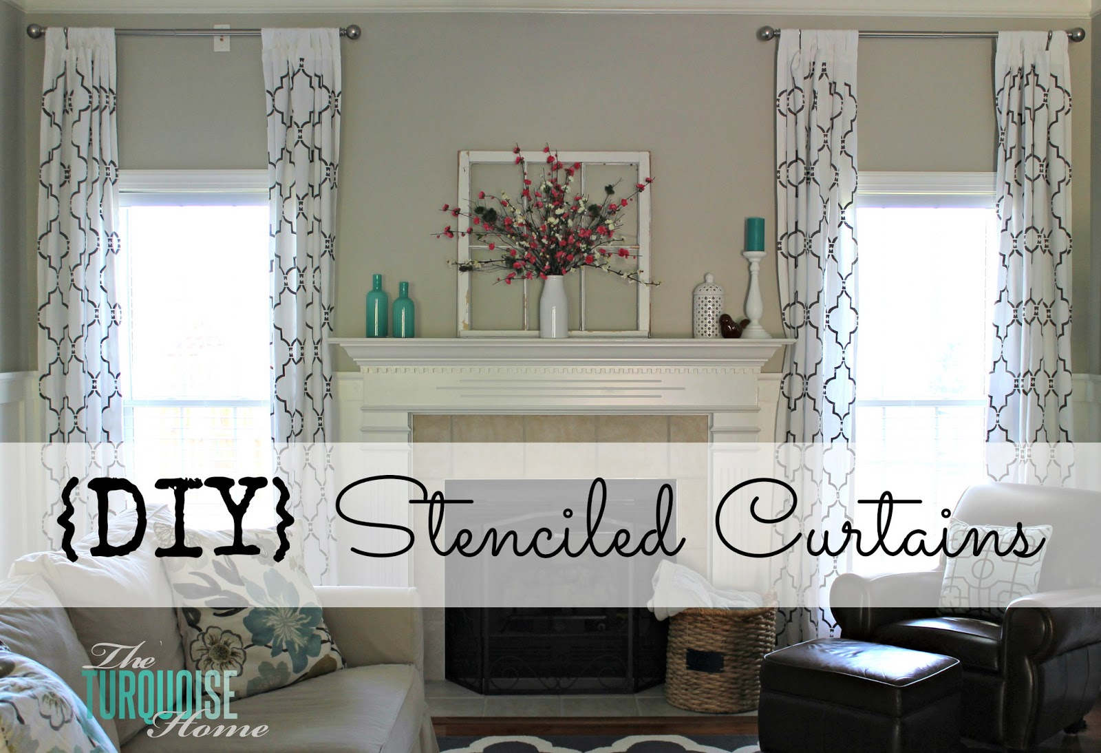 The Turquoise Home - stenciled curtains