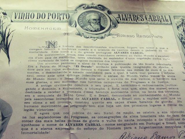 carta de homenagem de Ramos Pinto para o Brasil.