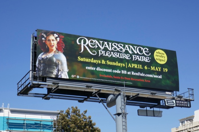 Renaissance Pleasure Faire 2019 billboard