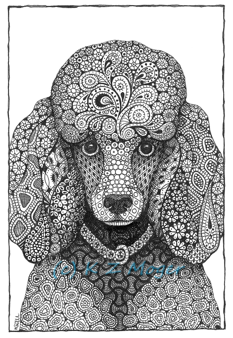 08-Poodle-Kristin-Moger-Domestic-and-Wild-Zentangle-Animal-Portraits-www-designstack-co