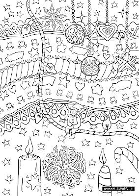 A coloring page of Christmassy patterns, candles and snowflakes / Värityskuva jouluisista kuvioista, kynttilöistä ja hiutaleista