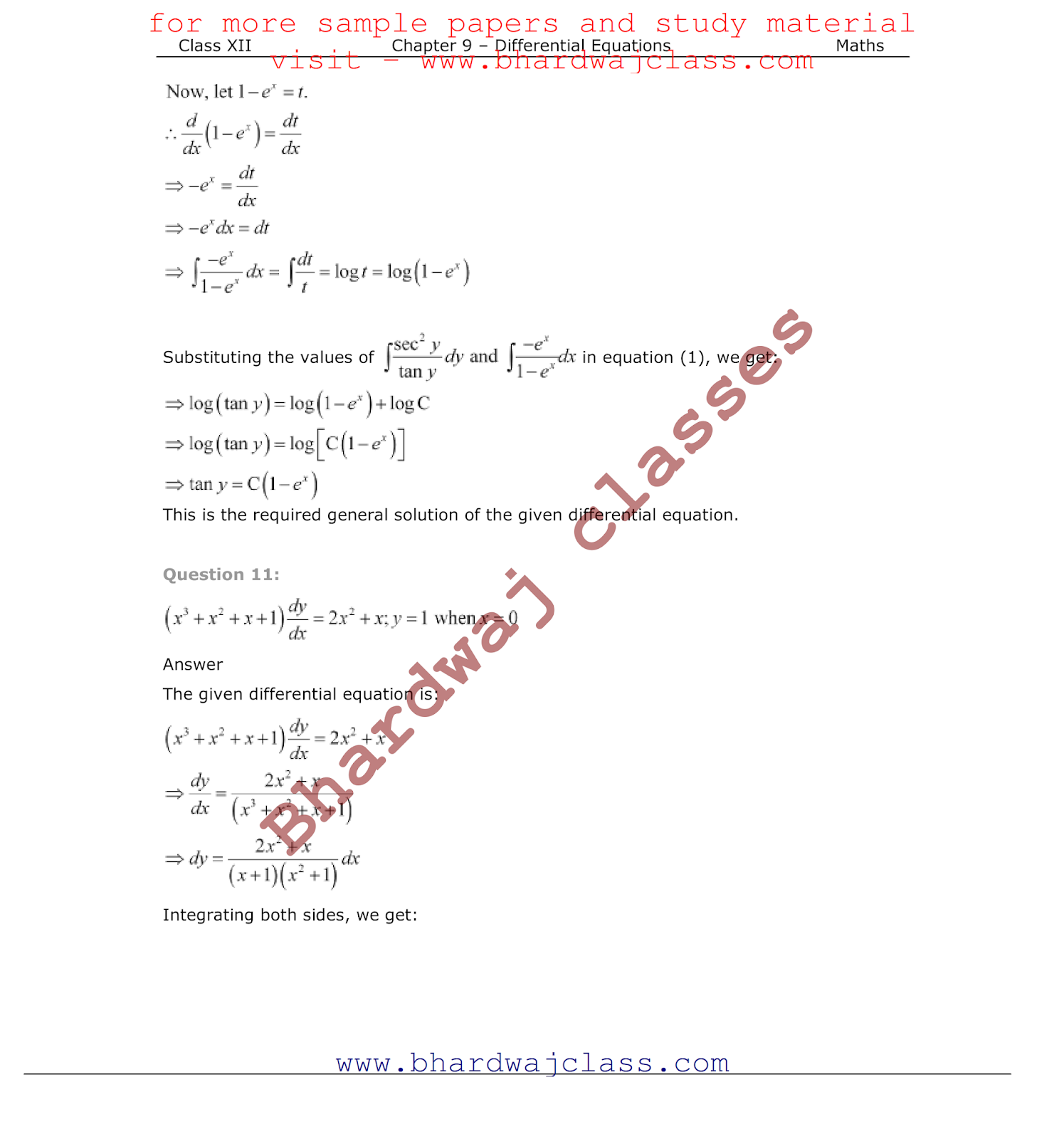 CBSE Class 12 Maths NCERT Solutions Chapter 9