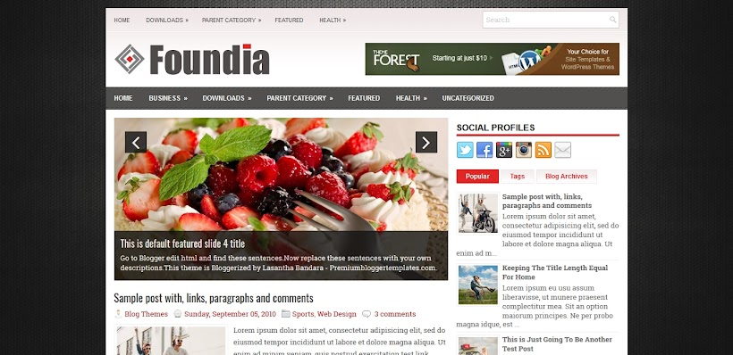 Foundia Free Blogger Template