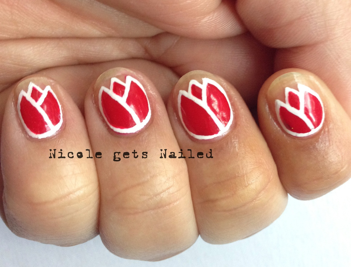 Gelic39 Nail Art Red Tulip Funky French For Hungary