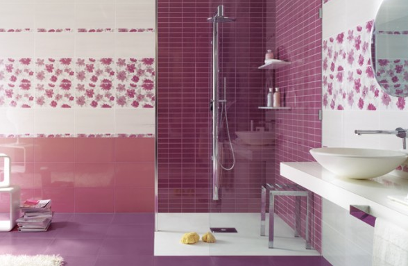 desain keramik kamar mandi warna ungu