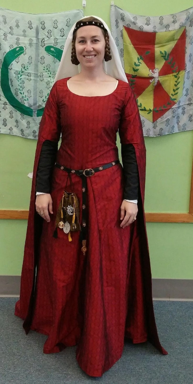 Jane Fox Historical Costumes 14th Century Red Silk