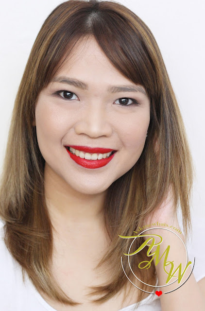 a photo of Nikki Tiu Askmewhats wearing CLINIQUE Pop Matte Rose Pop + Primer and Pop Liquid Color + Primer Flame Pop