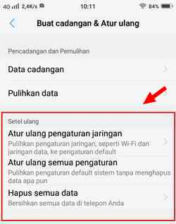 menu pilihan factory reset vivo