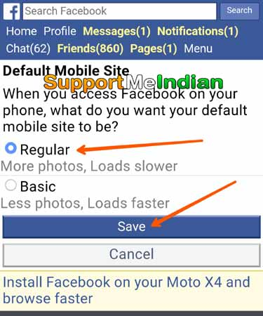 Select facebook theme and save changes
