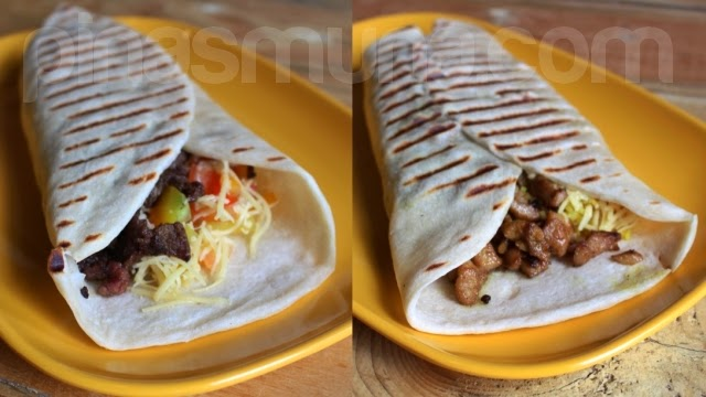 Shawarma Bros Beef Shawarma Wrap and Chicken Burrito Bro Wrap