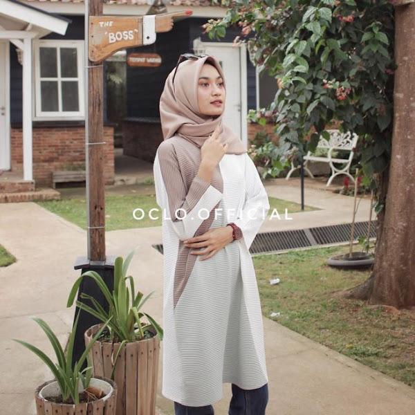 Oclo Baju Tunik Modern Minimalis Lycra Import Putih Polos Baju